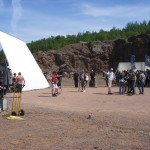 Filmteam Axevalla ting i Cementabrottet på Kinnekulle